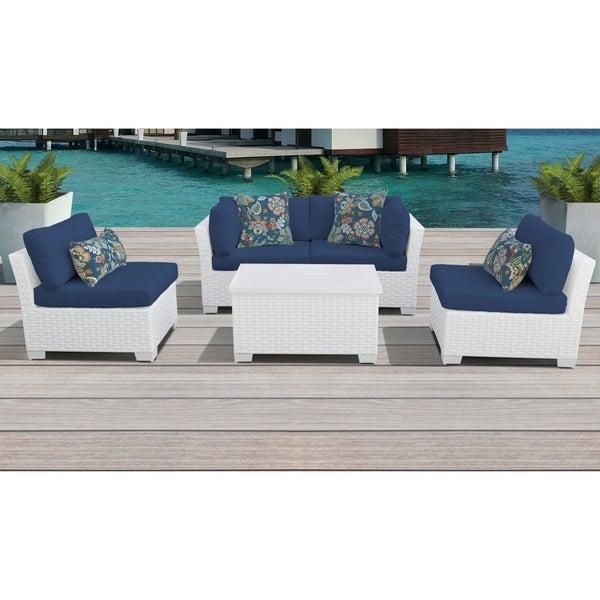 Tk Classics Monaco White Wicker 5 Piece Outdoor Patio Furniture Set