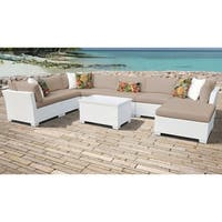TK Classics Monaco 9-piece Timeless White Outdoor Wicker and Wheat Cushions Patio Furniture Set