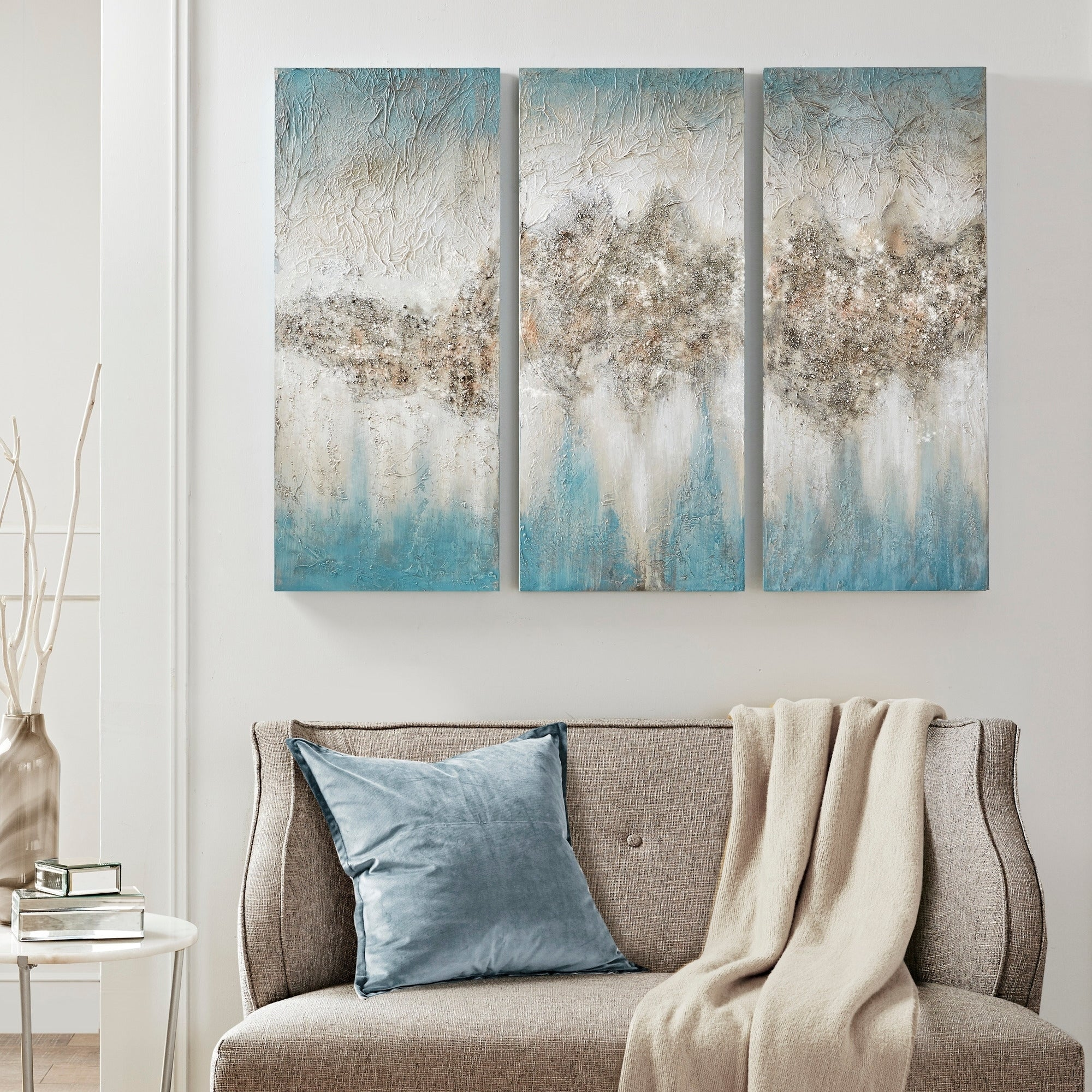 Shop Black Friday Deals On Madison Park Blue Luminous Hand Painted Canvas On Sale Overstock 21146478