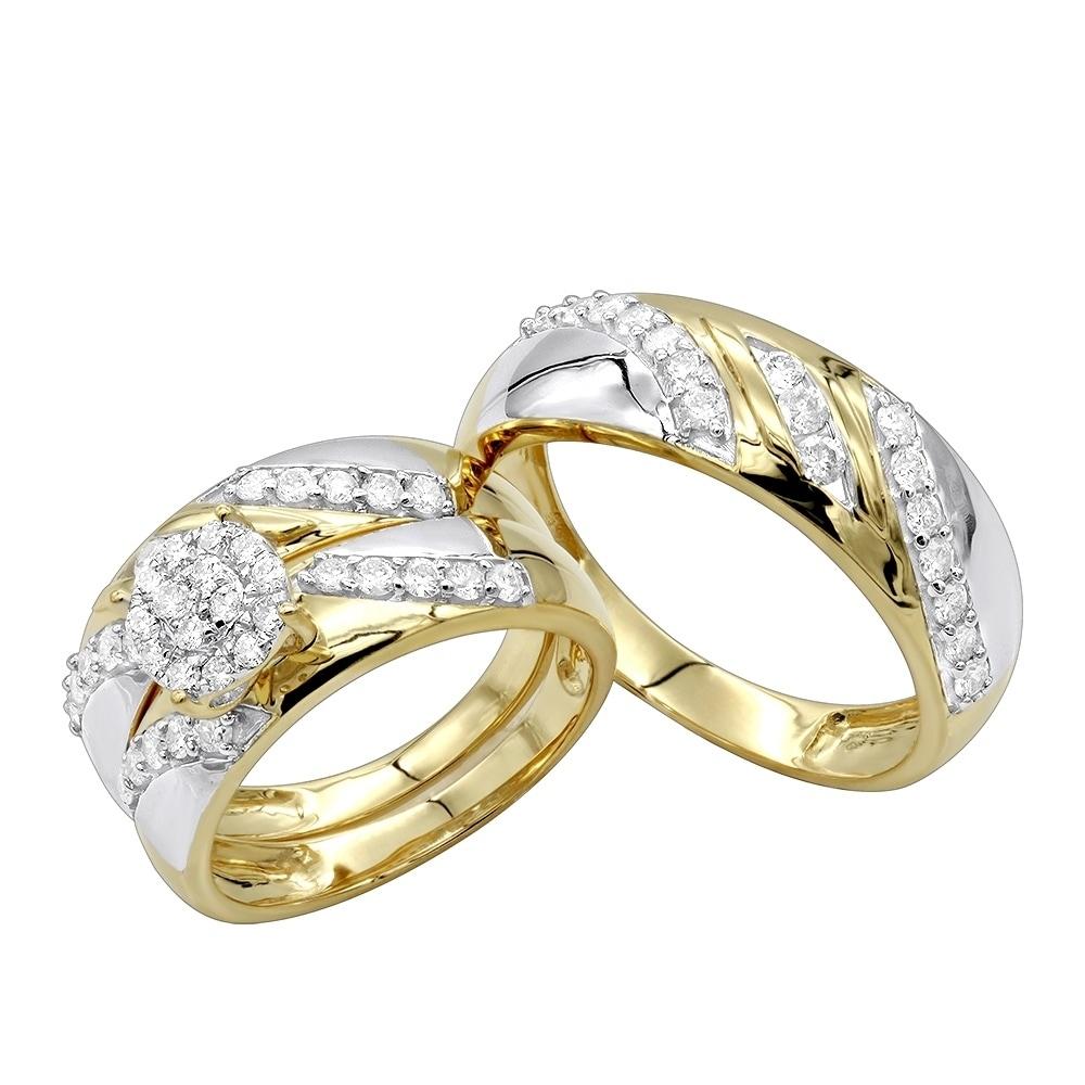 Shop 10k Gold Diamond Engagement Bridal Trio Wedding Ring Set 0 8