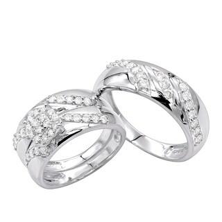 10K Gold Diamond Engagement Bridal Trio Wedding Ring Set 0.8ctw by Luxurman