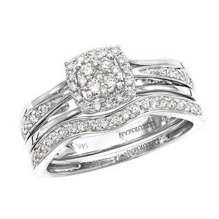 14k Gold Affordable Diamond Engagement Ring Set Wedding Band 0.4ctw by Luxurman