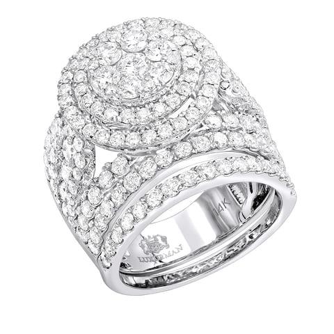 14k Gold Unique Diamond Double Halo Engagement Ring Set 4.25ctw by Luxurman