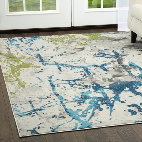 """Palmyra Collection Gray-Blue Abstract Area Rug by Home Dynamix - 22"""" x 32"""""""