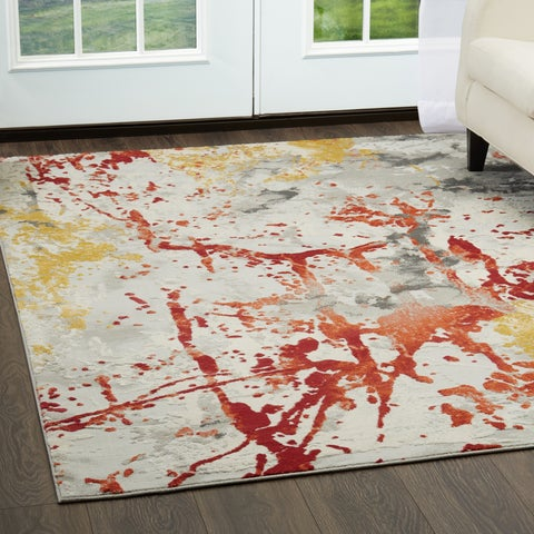 """Palmyra Collection Gray-Blue Abstract Area Rug by Home Dynamix - 5'2"""" x 7'2"""""""