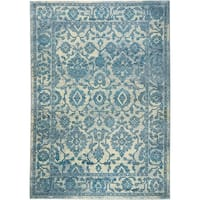 "Serena Collection Distressed Ivory-Blue Area Rug by Home Dynamix - 20"" x 32"""