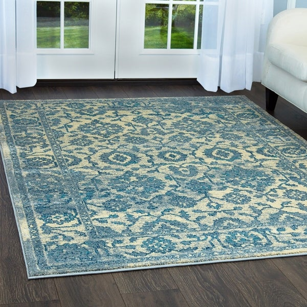 """Serena Collection Distressed Ivory-Blue Area Rug by Home Dynamix - 20"""" x 32"""""""
