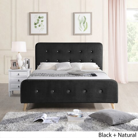 Priya Mid Century Velvet Queen Platform Bed Frame by Christopher Knight Home