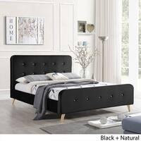 Priya Mid Century Velvet Queen Platform Bed Frame by Christopher Knight Home