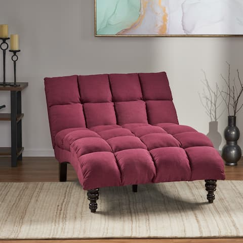 Kaniel Traditional Tufted Fabric Double Chaise by Christopher Knight Home