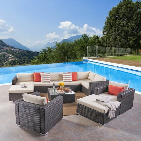 Santa Rosa Outdoor 8 Seater Wicker Sectional Sofa Set by Christopher Knight Home