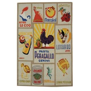 Safavieh Hand-hooked Vintage Poster Ivory Wool Rug (5'3 x 8'3)
