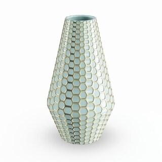 Havenside Home Buckroe Textured Geometric Ceramic Vase (8'' x 14'')