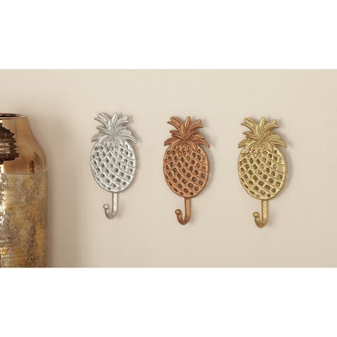 "Gold, Silver & Bronze Metal Pineapple Wall Hooks Set of 3 - 4"" x 7"""