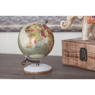 The Curated Nomad Buckroe Glossy Metal Wood Marble Globe (5'' x 7'')
