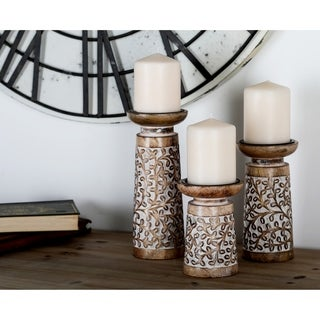 Havenside Home Buckroe 3-piece Rustic Mango Wood Flourish-Patterned Candle Holder Set