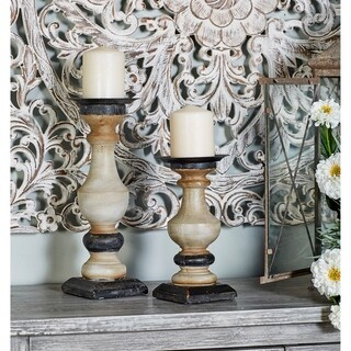 The Gray Barn Cocklebur 2-peice Wooden Baluster Candle Holder Set