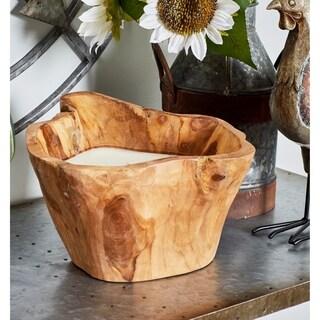 Carbon Loft Lippershey Rustic Teak Wood Candle Pot (8'' x 11'')