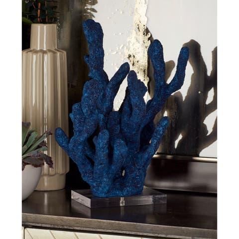 The Curated Nomad Buckroe Coastal Polystone and Acrylic Blue Coral Sculpture