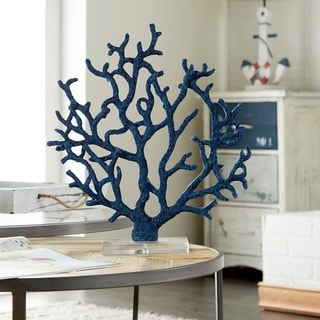 The Curated Nomad Buckroe Coastal Polystone Blue Branched Coral Sculpture