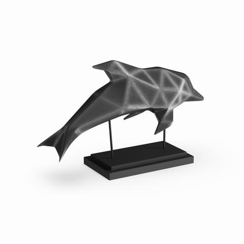 Carbon Loft Lippershey Coastal Iron and Resin Faceted Dolphin Sculpture