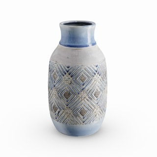 The Curated Nomad Buckroe 13-inch Traditional Ceramic Geometric Weave Vase