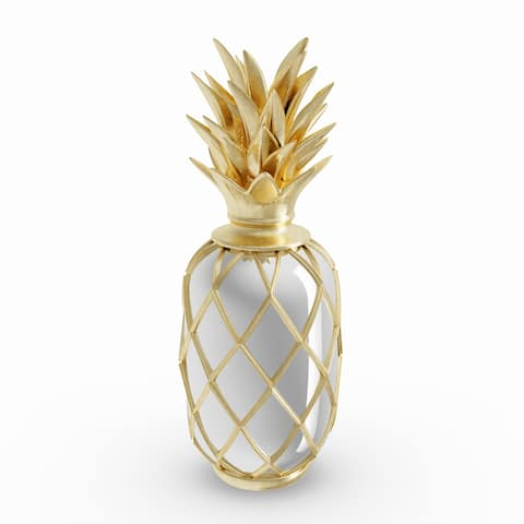 Carson Carrington Andalsnes 15-inch Modern Resin Pineapple Decor with Mirror Inlays