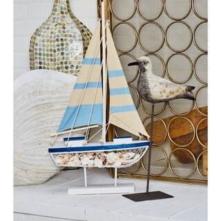 Havenside Home Buckroe Coastal Wood and Metal Blue Sailing Boat Sculpture with Stand