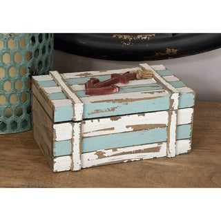 The Gray Barn Cocklebur Aqua Blue/ White 2-piece Maritime Storage Box Set