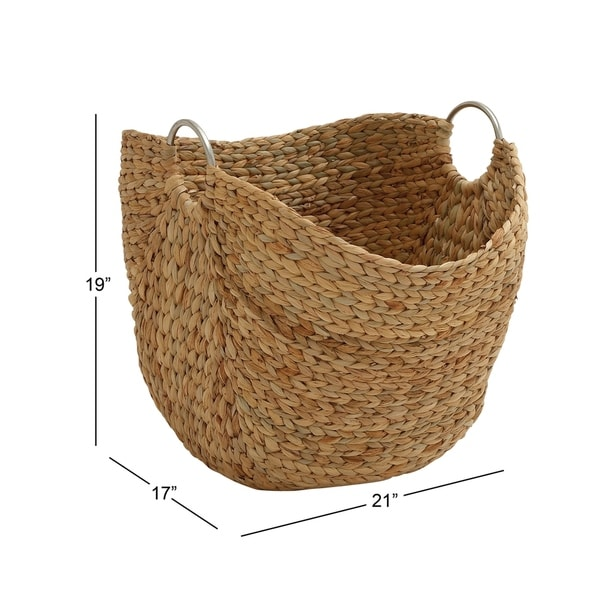 The Curated Nomad Brown Dried Plant Material Contemporary Storage Basket 19 x 21 x 17