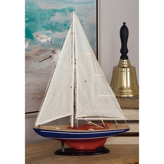 Carbon Loft Lippershey Red and Navy Decorative Wood Ship