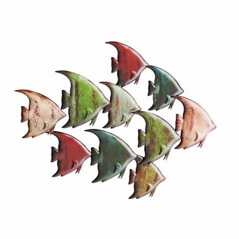 Copper Grove Sharbot 26-inch Schooling Angel Fish Wall Sculpture