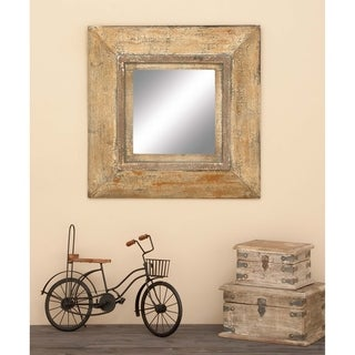 The Curated Nomad Biltmore Beveled Frame Square Wall Mirror - Brown