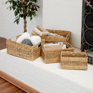 Havenside Home Buckroe 4-piece Seagrass Rectangular Basket Set