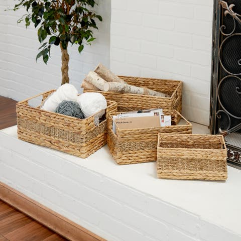 The Curated Nomad Biltmore 4-piece Seagrass Rectangular Basket Set