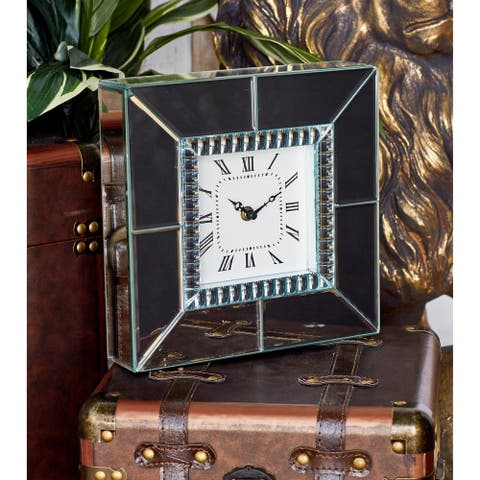 Silver Orchid Compson Wood and Glass Clock
