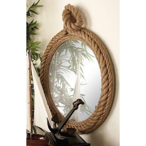 The Gray Barn Cocklebur Designer Wood Rope Wall Mirror - Brown