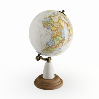 The Curated Nomad Biltmore Wood Metal Marble Globe
