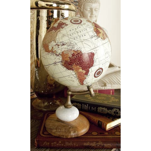 The Curated Nomad Biltmore Warm-toned Wood Metal Marble Globe