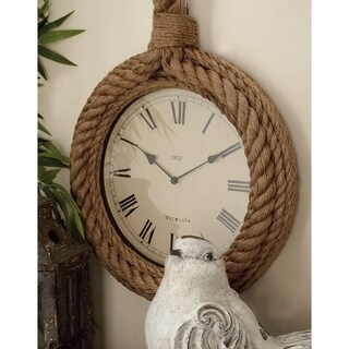 The Gray Barn Cocklebur Round Wood Rope Wall Clock