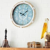 The Gray Barn Cocklebur Metal Rope Glass Wall Clock