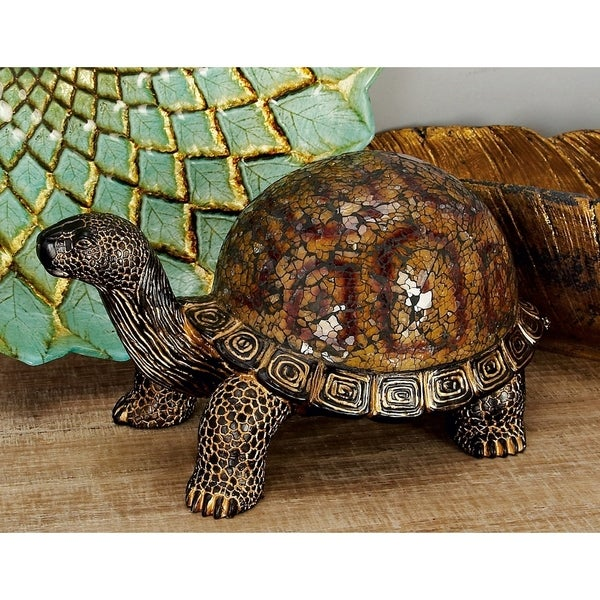 The Curated Nomad Biltmore Brown Resin Mosaic Turtle Figurine
