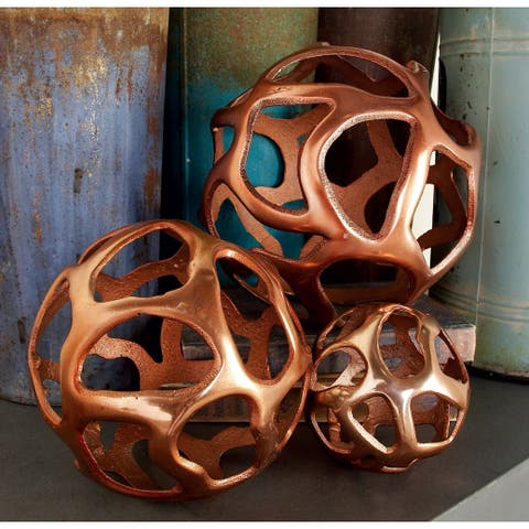 Strick & Bolton Tatum 3-piece Copper-finish Aluminum Decor Ball Set