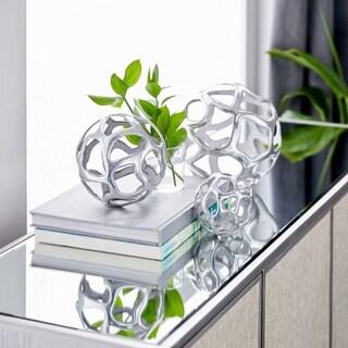 Strick & Bolton Tatum 3-piece Silver Aluminum Decorative Ball Set