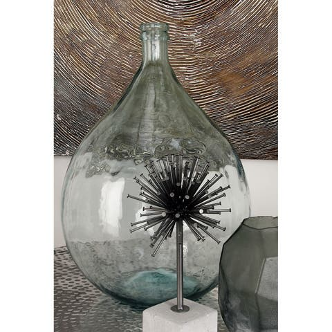 The Gray Barn Cocklebur Green Glass Round Spouted Bottle Vase (15'' x 22'')