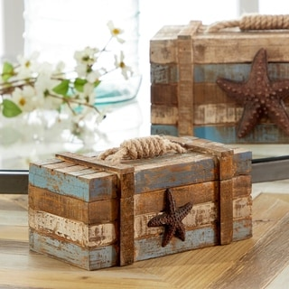 The Gray Barn Cocklebur Rustic Nautical Storage Boxes with Jute Rope Accents