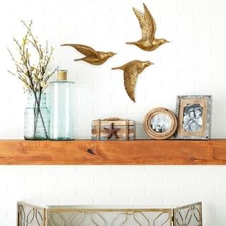Copper Grove Sharbot 3-piece Golden Polystone Bird Wall Decor Set