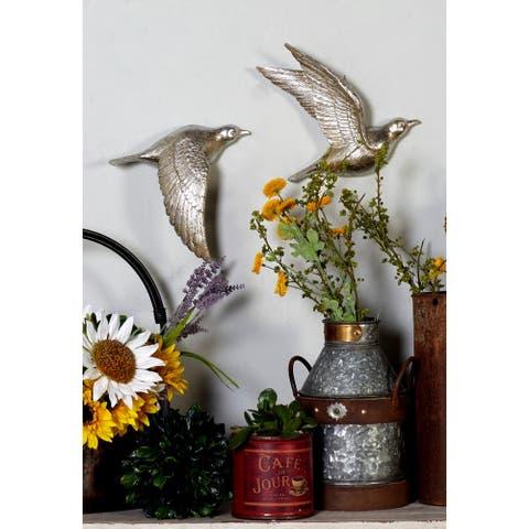 The Gray Barn Cocklebur 3-piece Silver Polystone Bird Wall Decor