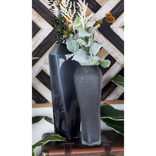 Strick & Bolton Tatum Convoluted Frosted Glass Vase