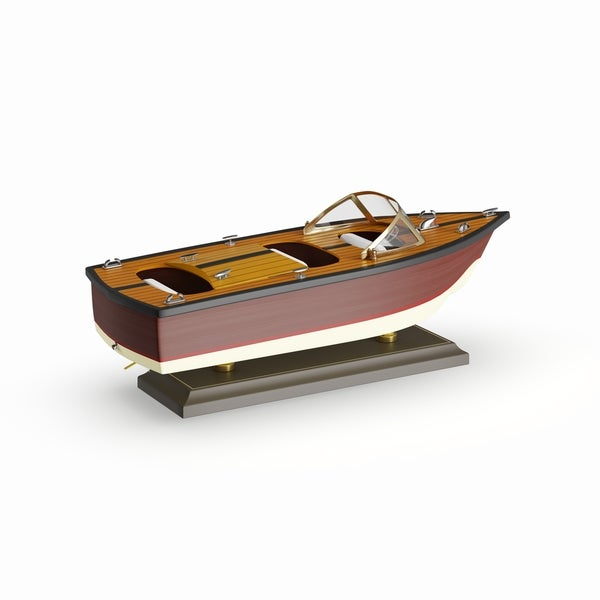 Copper Grove Sharbot Red And Brown Wood Yacht (13'' X 5'')